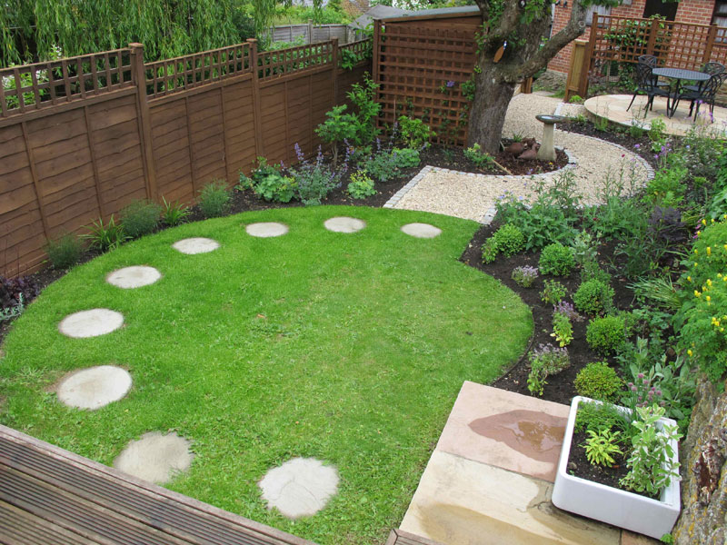 Portfolio of private garden design and build topiarus for Circular garden decking